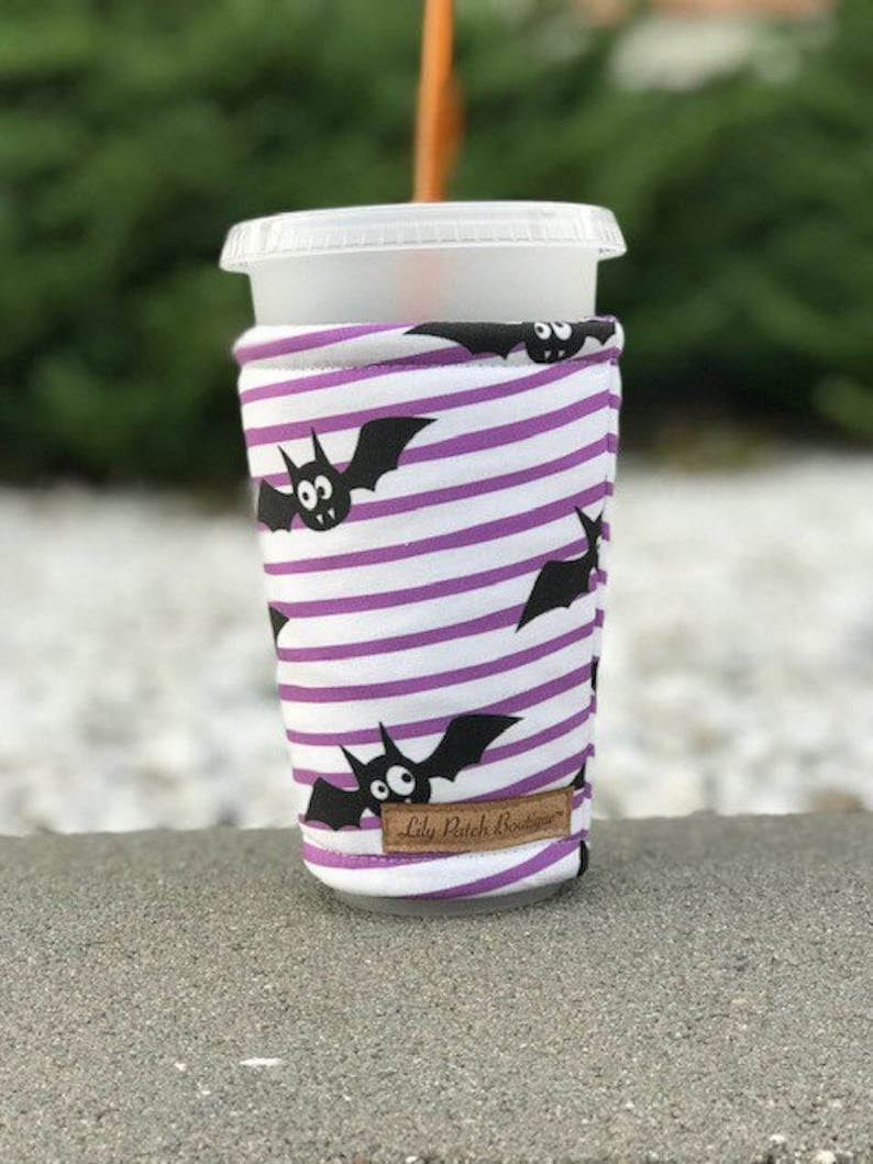 Halloween Bat with Purple Stripes Coffee Cozy Iced Coffee image 0