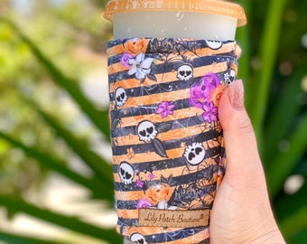 Sugar Skulls with Black and Orange Stripes Coffee Cozy, Iced Coffee Cozy, Cup Cozy, Drink Sleeve, Can Cozy, Soda S