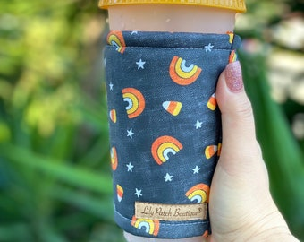 Candy Corn and Rainbow on Black Coffee Cozy, Iced Coffee Cozy, Can Cozy, Cup Sleeve