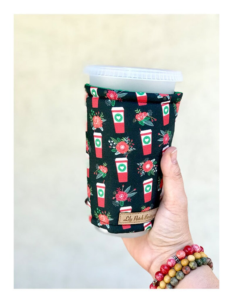 Christmas Latte Coffee Cozy  Cup Cozy Christmas Iced image 0