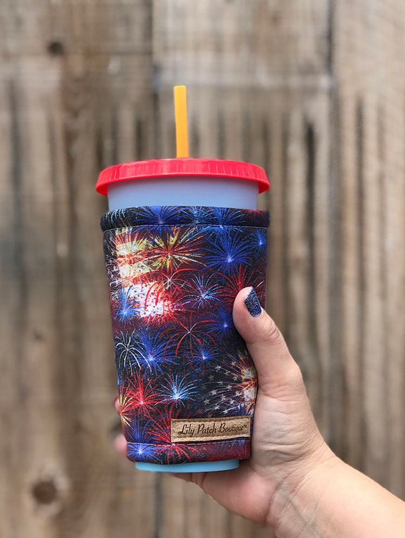 Fireworks and Flags Coffee Cozy Iced Coffee Cozy Cup Cozy image 0