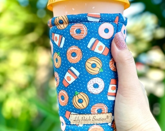 Fall Donuts and Latte Coffee Cozy, Iced Coffee Cozy, Can Cozy, Cup Sleeve