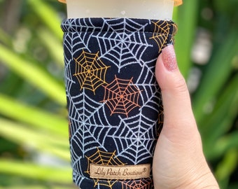 Glittered Spiderwebs Coffee Cozy, Iced Coffee Cozy, Cup Cozy, Drink Sleeve, Can Cozy, Soda S