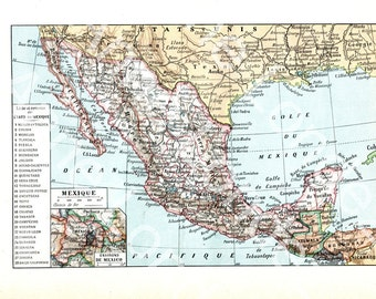 Old Mexico Map Etsy