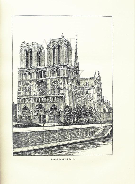Notre Dame Cathedral Print 1889 Vintage Paris Wall Art Paris Etsy