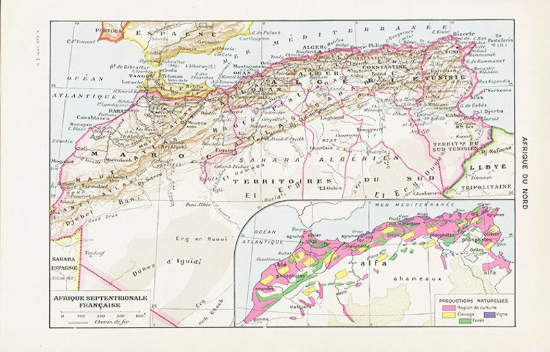 ee970248dd Vintage North Africa map 1948 vintage French dictionary page