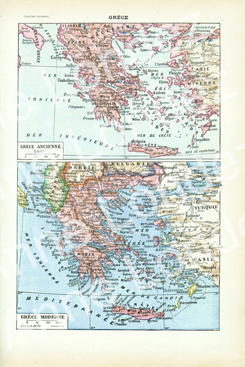 picture about Printable Maps of Greece identify Antique Greece map 1922, Traditional map of Greece, French map Greek decor Greek reward for trainer place of work decor, Outdated maps, Map print wall artwork