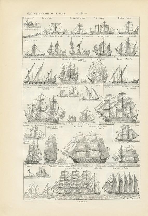 Original Art Print Picture Set OLD ANTIQUE SAILING SHIPS Vintage Sailboats