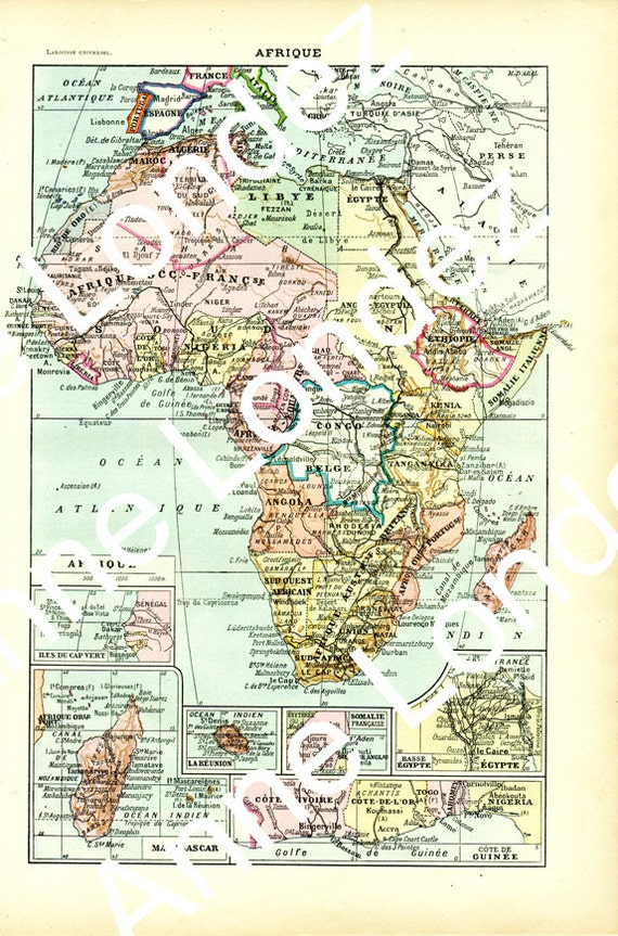 French Africa Map.Old Africa Map 1922 Map Of Africa Vintage French Map Africa Etsy