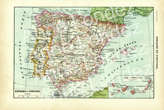 Map Of Spain To Print.Antique Map Of Spain Portugal 1922 Vintage Map Print Spain Print Portugal Map Portugal Gifts Spanish Teacher Gifts Spanish Decor