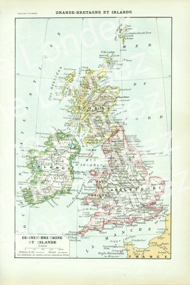 Map Of Uk To Buy.1922 Old Map Of Great Britain And Ireland Vintage Uk Map French Map Of Ireland Vintage French Decor Geography Decor England Map Of England