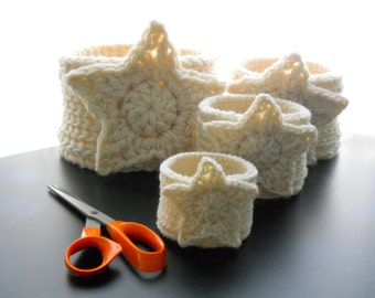 CROCHET PATTERN: The Star Four Nesting Baskets, Crochet Pattern for Gift Baskets, Nesting Basket Pattern
