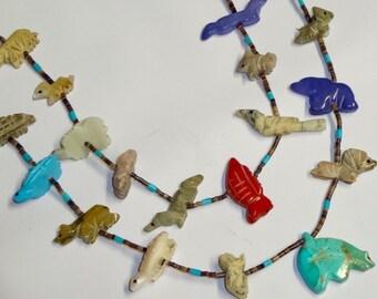 "26""  Turquoise Stone Bear Necklace, Fetish Necklace, Vintage Bear Necklace"