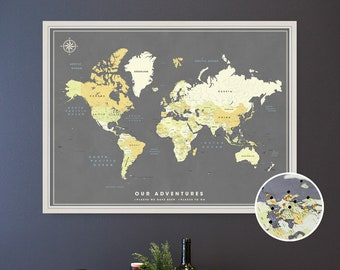 World Map Push Pin Board - Framed Couples Travel Map - Personalized Pin Map in various sizes and color choices - Modern Banner