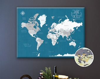 Pin Board Map of the World - Push Pin Travel Map Canvas - Personalized Travel Map for Couple - Anniversary Banner