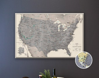 Push Pin Map of the USA - Personalized US Travel Map on Canvas - Various Size and Color Choices
