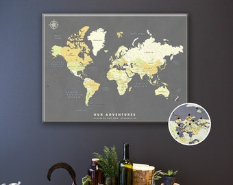 Push Pin Map of the World - Personalized World Map Canvas with multiple color choices - Modern Banner