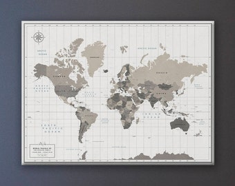 World Map with Pins - Canvas Pin Board - Travel Map with personalization options and multiple color choices - Classic Banner