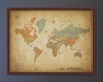 Push Pin World Map with Frame - Travel Map Push Pin Board - Map With Personalization options in Vintage Technicolor Style - Equator Banner