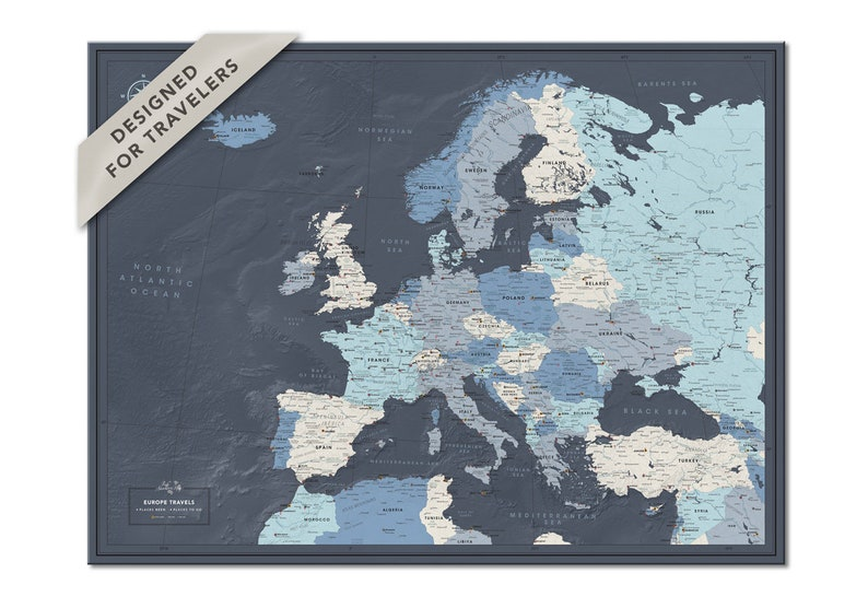 Europe travel map with pins  Push pin Europe map poster with image 0