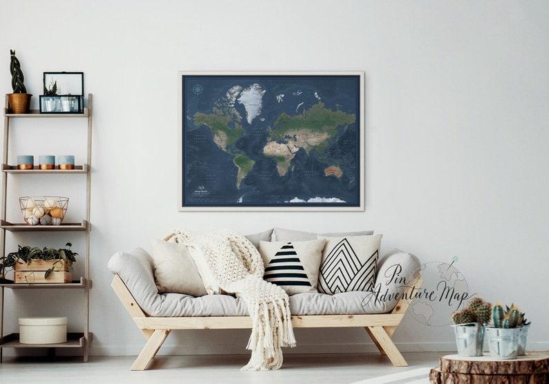 Carte détaillée du monde avec épingles Carte de voyage à | Etsy