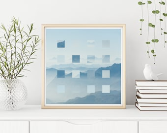 "Blue Mountain Pixel  - Fine Art Giclee Print of 8"" x 8"" Generative Art Digital Collage"