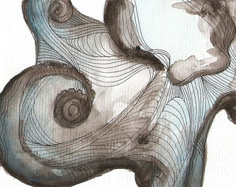 """Octopus Painting - Waterbaby  - Giclee Print 21/50 of 6""""x4"""" Watercolor Painting"""