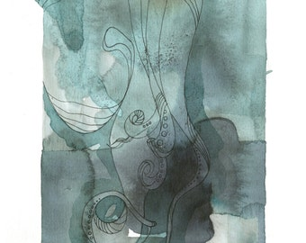 """Octopus Drawing - The Quiet Cephalopod - Fine Art Giclee Print 5""""x7"""" Fountain Pen and Squid Ink Drawing in Green and Grey"""