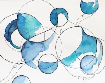 "Octopus Watercolor Painting - We Sail Through Endless Skiestopus - Fine Art Giclee Print 5""x7"""