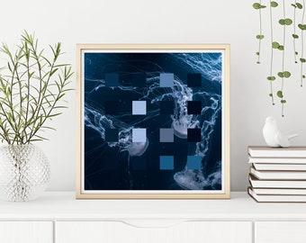 "Blue Jellyfish Pixel  - Fine Art Giclee Print of 8"" x 8"" Generative Art Digital Collage"