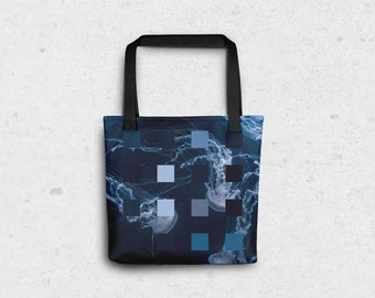 "Blue Jellyfish Pixel Tote Bag - 15""x15"""