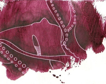 """Octopus Painting - Unkind Octopus - Fine Art Giclee Print 8/50 of 6""""x4"""" Burgundy Painting"""