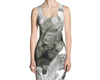 Octopus Abstract Black and White All-Over Printed Dress