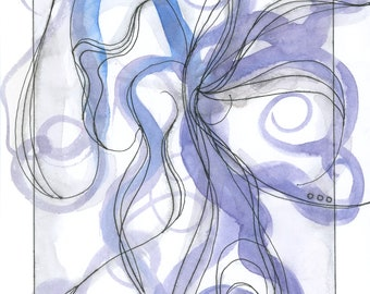 """Octopus Painting - Leaf by Leaf and Page by Pagetopus  - Fine Art Giclee Print of 4""""x6"""" Blue and Purple Watercolor"""