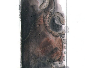 """Octopus Painting - Imploding Octopus - Fine Art Giclee Print 2/50 of Dark 4""""x6"""" Watercolor Painting"""