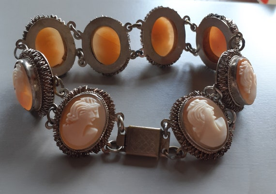 Art Deco Hand Carved Cameo Bracelet