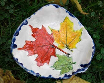 Maple Leaf Dish Ceramic Bowl Spoon Rest Red Leaf Pottery Candy Dish