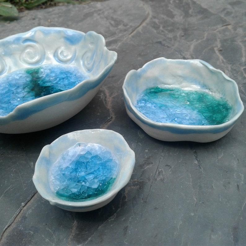 Set 3 Mini Porcelain Ring Dishes Sea Pool Turquoise Beach Decor Seaglass