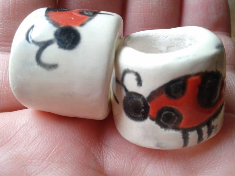 Set 2 Ladybug Macrame Beads Large Hole Ceramic Red Black Beads Dread Dreadlock Insect Bug Clay Beads