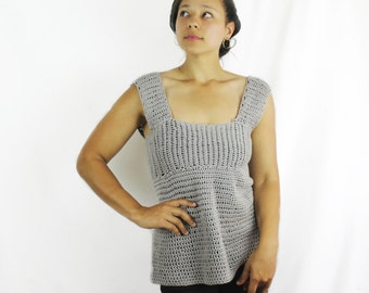 Women's short sleeve top, Summer top, Ladies tank top, Cotton top,  - The Kimiko - Womens crochet shirt, Grey cotton top