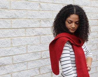 Crochet scarf, Open ended scarf, Winter scarf wrap, Long winter scarf in red
