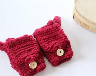 Wool convertible mittens, Fingerless gloves in Red -  The CERYS- Women's winter mittens - Crochet gloves