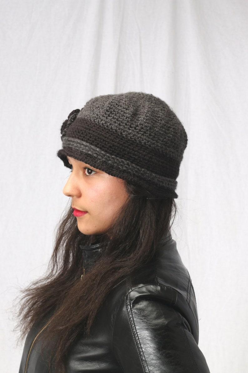 Crochet  flower hat in grey and black Crochet ladies hat Womens winter hat