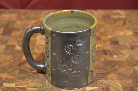 steampunk wooden mug