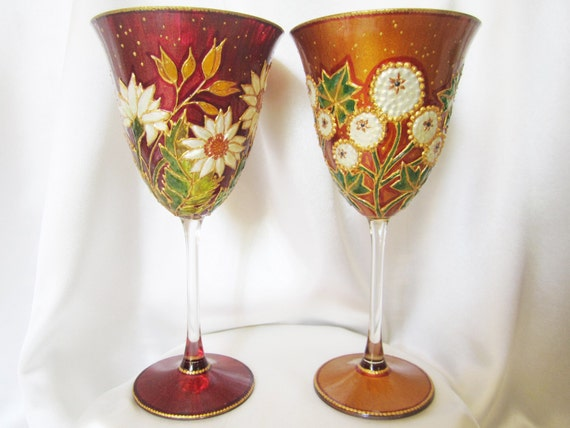ffabc10196 Floral Serendipity in Burgundy and Gold Ochre Hand Painted