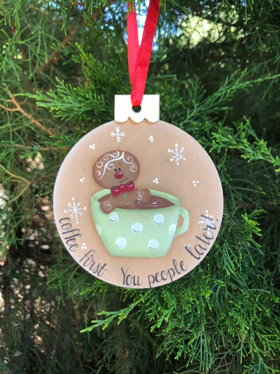 Coffee Christmas Ornament.Coffee Ornament Coffee Lover Christmas Ornament Coffee Gift Wood Slice Ornament White Elephant Hand Painted Ornament Co Worker Gift