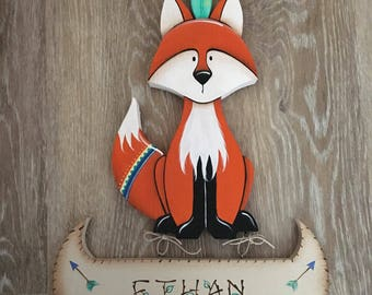 Personalized name sign, Baby Name Sign, Woodland Nursery, Baby Shower Gift, Fox Nursery Decor, Nursery Decor, Woodland Animals,