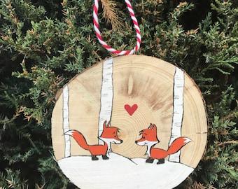 Wood Slice Ornament, Fox ornament, Woodland Decor, Christmas Ornaments, Christmas Decor, Rustic Decor, Rustic Christmas, Fox Decor