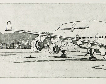 Airplane Etching Print - '747' Airplane Etching by William White - Original Hand Pulled Print -  FREE Shipping