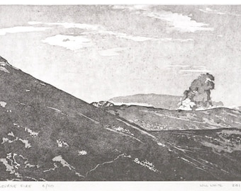 Etching Print - Irish Landscape - Original Hand Pulled Print - 'Mourne Fire in Ireland'  - FREE SHIPPING